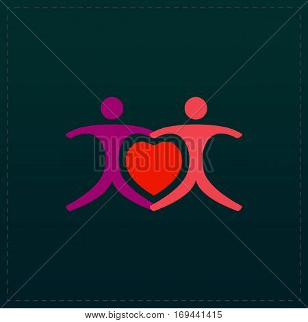 Love people - heart. Color symbol icon on black background. Vector illustration