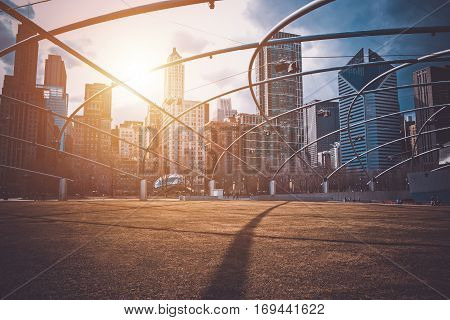 Downtown Chicago Sunset. Chicago Illinois Millennium Park. United States.