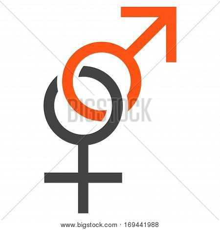 Sex Symbol flat icon. Vector bicolor orange and gray symbol. Pictograph is isolated on a white background. Trendy flat style illustration for web site design logo ads apps user interface.