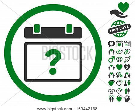 Unknown Date pictograph with bonus romantic icon set. Vector illustration style is flat rounded iconic green and gray symbols on white background.