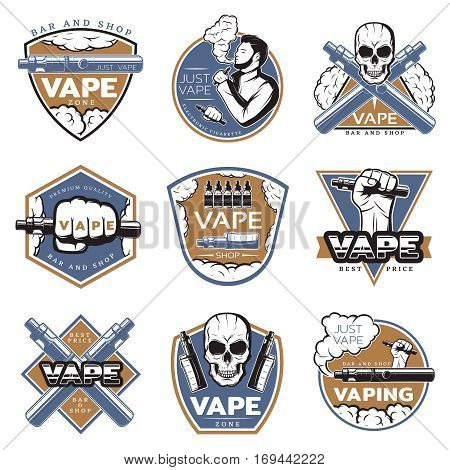 Vintage colorful vape labels with skull smoker electronic cigarettes vaporizers and other devices isolated vector illustration
