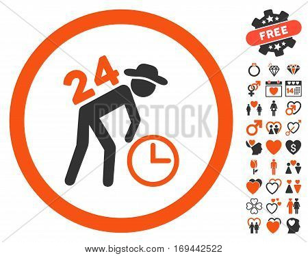 Around The Clock Work icon with bonus love symbols. Vector illustration style is flat rounded iconic orange and gray symbols on white background.