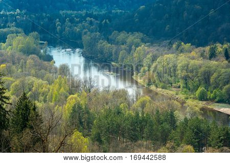 Areal view on Gauja river valley on beautiful spring day, Sigulda, Latvia