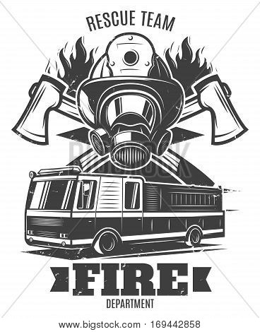 Monochrome firefighting template with rescue mask fire truck axes and flame in vintage style isolated vector illustration