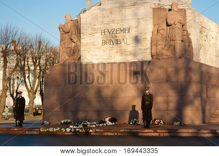 The Freedom Monument in Riga Latvia. The memorial honours the soldiers killed during the Latvian War of Independence in 1918-1920.