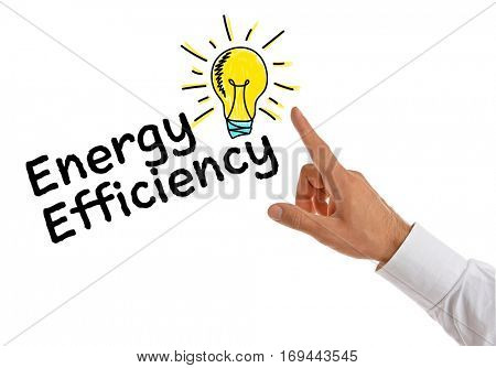 Male hand pointing on text ENERGY EFFICIENCY, white background.