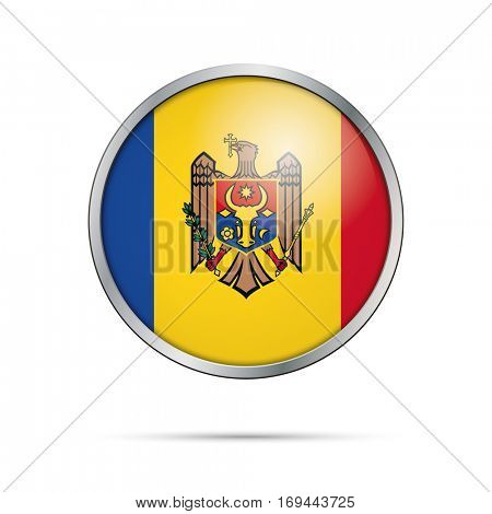 Vector Moldovan flag Button. Moldova flag glass button style with metal frame.