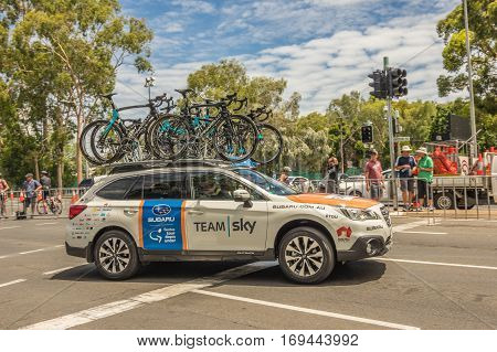 Adelaide South Australia 22 January 2017 The Tour Down Under races around the street circuit of central Adelaide and is serviced by the professional team cars following the racers closely behind.