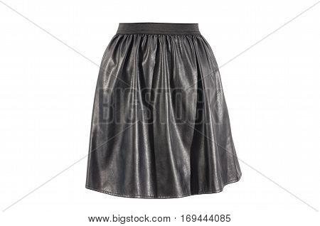 Black faux leather skirt isolated on white background. Vegan leather short skirt with elastic band cut out on white.