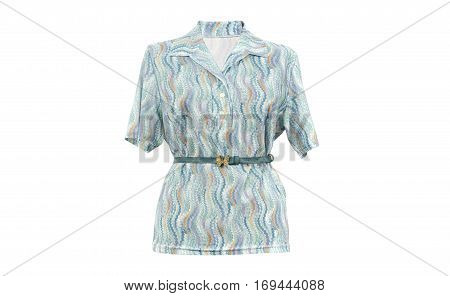 Short sleeve woman shirt with a belt isolated on white background.Colorful blue summer shirt with a butterfly belt cut out on white.