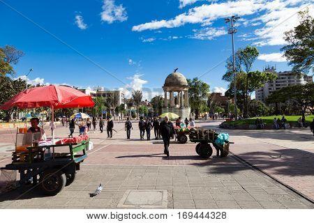 Bogota Colombia - April 21: Unidentified people at the Parque de Los Periodistas on April 21 2016 in Bogota Colombia.