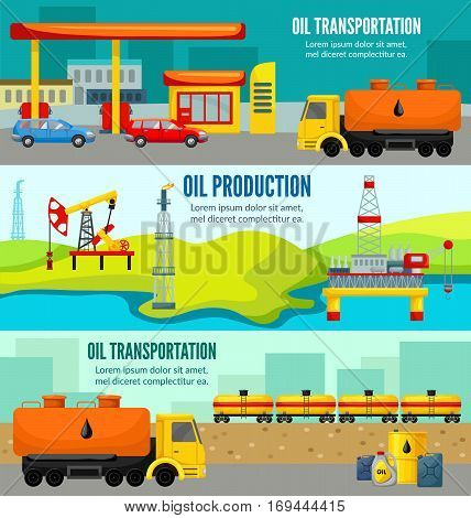 Petroleum industry colorful horizontal banners with oil extraction manufacturing transportation and distribution vector illustration