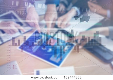 Business interface with graphs and data against cropped image of businesspeople discussing chart and graph