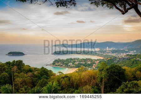 Landscape of Phuket View Point Karon Beach Kata Beach Taken from Karon Viewpoint. Located in Phuket Province Thailand.