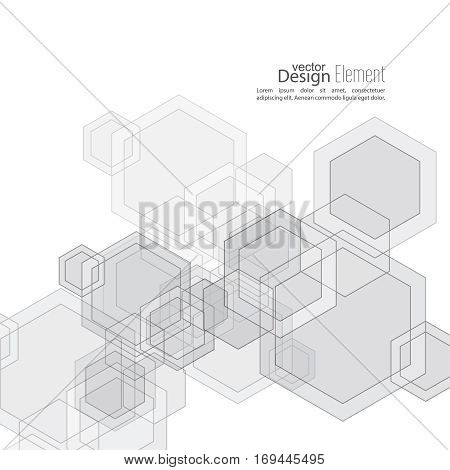 Abstract  Background with transparent cubes, hexagons carcass. Techno design of future, minimalism. technology, science and research. cyberspace cells. Digital Data Visualization. Black, white, sepia