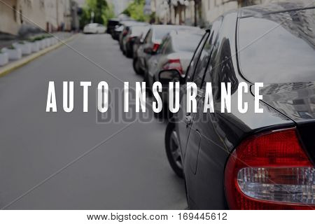 Car insurance concept. Cars parked near sidewalk