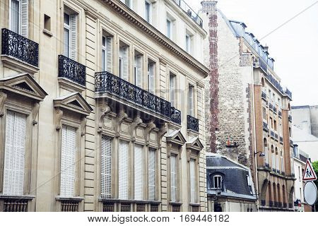 houses on french streets of Paris. citylife concept postcard