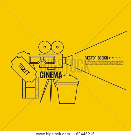 Abstract background with popcorn, 3D glasses,  filmstrip,  camera and  tickets. The concept of a cinema and watching a movie. Layout, flyer, poster for announcement. thin line icon