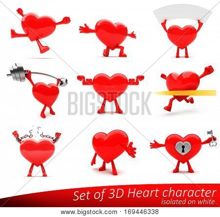Lovable happy, healthy and strong heart mascots presenting love, emotions, romance, health and exercise. Ideal for advertisement or as a part of a logo. Isolated on white.