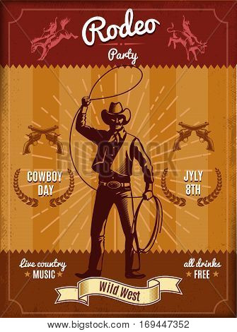 Vintage rodeo poster with cowboy throwing lasso and wild west elements vector illustration