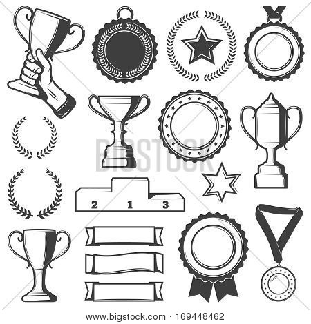 Vintage sport awards elements collection with cups medals laurels stars ribbons and pedestal isolated vector illustration