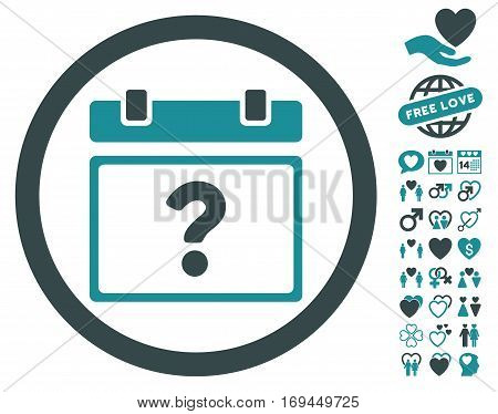 Unknown Date icon with bonus amour symbols. Vector illustration style is flat rounded iconic soft blue symbols on white background.