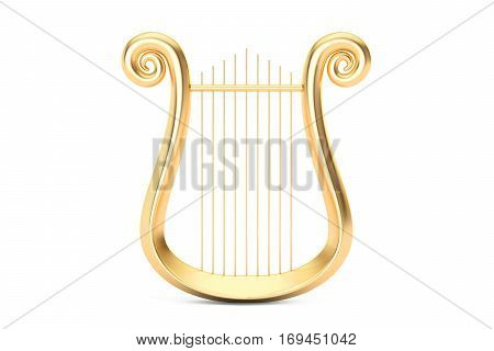 Golden Lyre 3D rendering isolated on white background