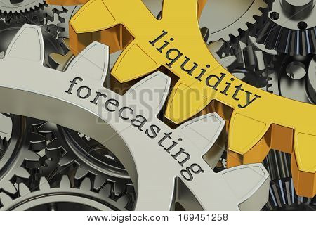 Liquidity Forecasting concept on the gearwheels 3D rendering