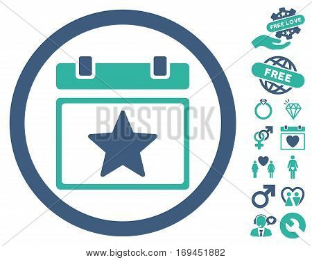Favourites Day icon with bonus valentine symbols. Vector illustration style is flat rounded iconic cobalt and cyan symbols on white background.