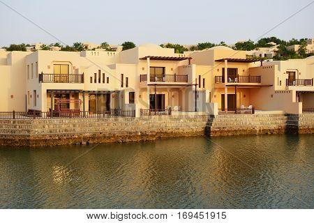 The luxury hotel during sunset Ras Al Khaima UAE