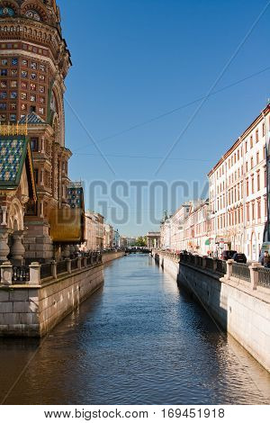 Cathedral of the Savior on Spilled Blood Griboyedov canal and morning sun Saint - Peterburg Russia