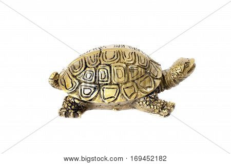 Bronze traditional chinese turtle isolated on white background. Feng Shui statuette.