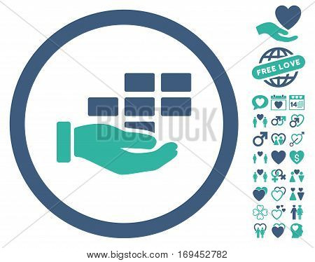 Service Schedule icon with bonus valentine pictures. Vector illustration style is flat rounded iconic cobalt and cyan symbols on white background.