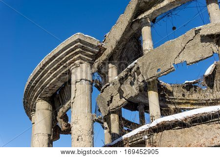 Facade of the destroyed hospital in the war. Rotonda, Voronezh