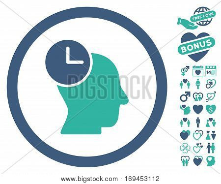 Time Thinking pictograph with bonus decorative clip art. Vector illustration style is flat rounded iconic cobalt and cyan symbols on white background.