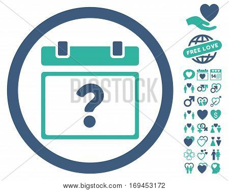 Unknown Date pictograph with bonus valentine icon set. Vector illustration style is flat rounded iconic cobalt and cyan symbols on white background.