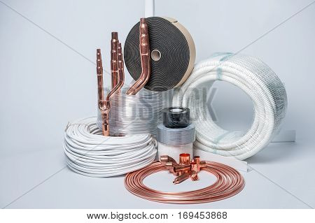 Set for the installation of air conditioning on a white background