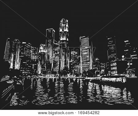 January 04, 2017: Singapore skyline at night. View from river side. Hand drawn vector white sketch on black background