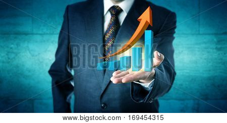 Unrecognizable businessman is offering an exponential growth chart with a soaring trending arrow skyrocketing. Business concept for success future forecast improvement goal setting and motivation.