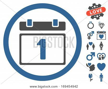 First Day pictograph with bonus lovely clip art. Vector illustration style is flat rounded iconic cobalt and gray symbols on white background.