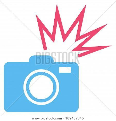 Camera Flash flat icon. Vector bicolor pink and blue symbol. Pictograph is isolated on a white background. Trendy flat style illustration for web site design logo ads apps user interface.