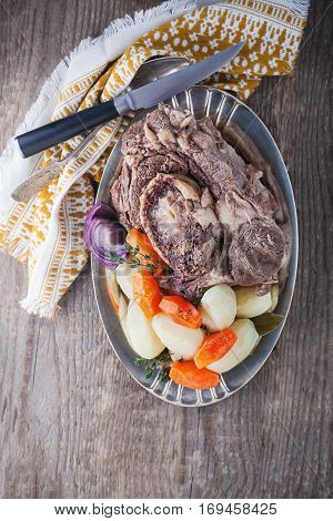 Pot Au Feu - French beef stew with carrots and potato