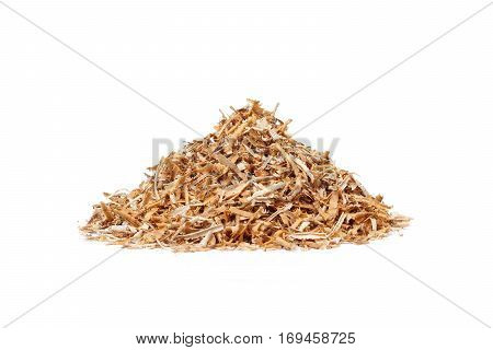 A pile of saw dust isolated on white