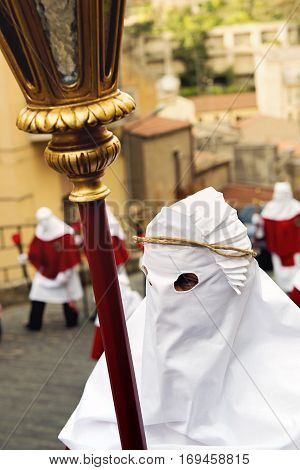 Enna, Sicily, Italy - March 25, 2016. Hooded Of The Good Friday Procession