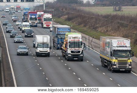 LONDON UK - FEBRUARY 6 2017: British motorway M1 during the rush hours