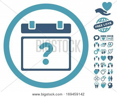 Unknown Date icon with bonus passion symbols. Vector illustration style is flat rounded iconic cyan and blue symbols on white background.