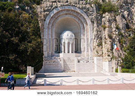 NICE FRANCE: The war memorial - Monument Aux Morts in Nice France. Was built in 1924-1928 dedicated to the fallen soldiers of the First World War.