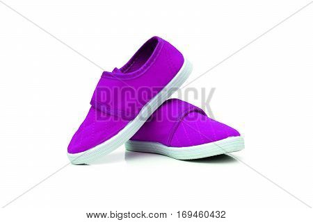 Purple slip on shoes isolated on white