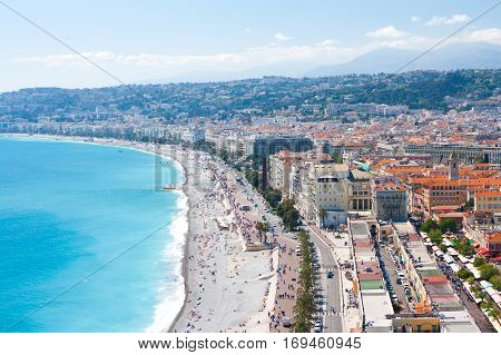coast Nice. Cote d'Azur. Mediterranean resort. France.