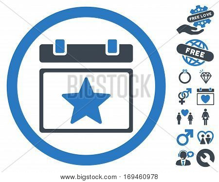 Favourites Day pictograph with bonus passion design elements. Vector illustration style is flat rounded iconic smooth blue symbols on white background.